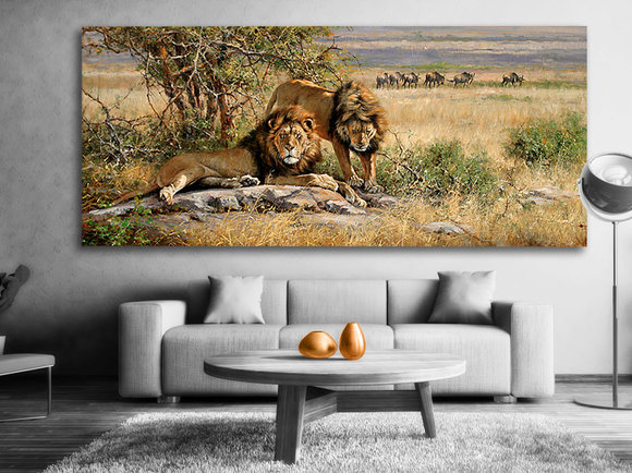 Lejon tavla - Handmålad