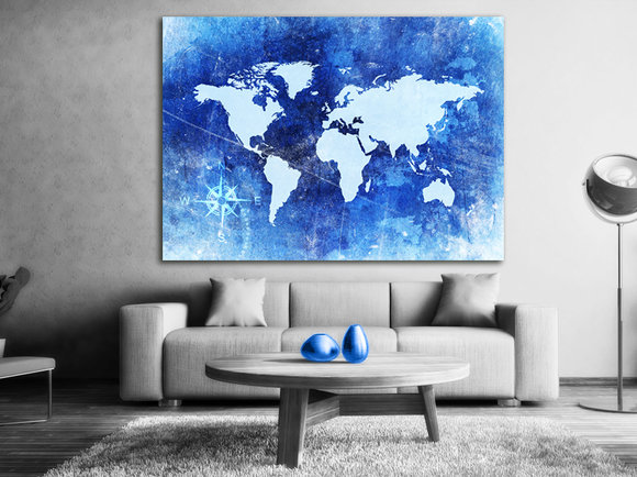 The world map Blue - Canvastavla