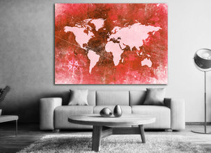 The world map Red - Canvastavla