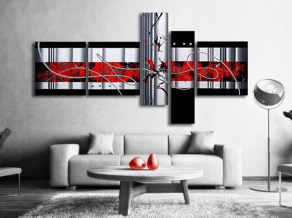 Röd Oljemålning - Abstrakt oljemålning Fuji