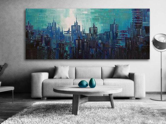 Abstrakt Honolulu Blue City