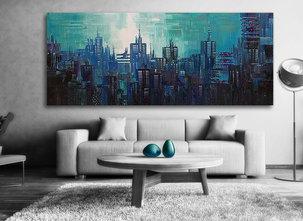 Oljemålning Blue City