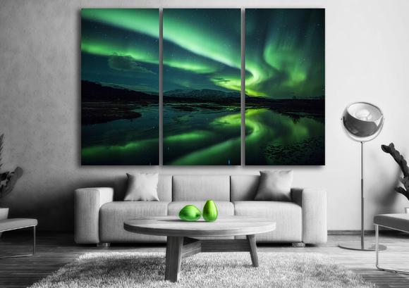 Norrsken tavla - Vacker norrsken tavla i delar