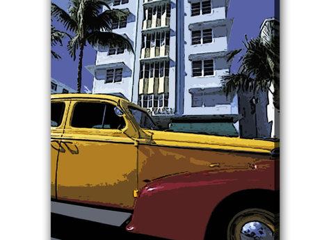 Amerikansk Bil - Miami Beach Tavla
