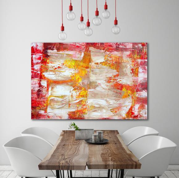 Abstrakt oljemålning - Röd Gryning