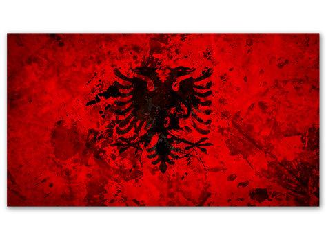 Albaninens Flagga - Tavla på Albaniens flagga
