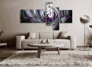 Abstrakt Tavla - The Purple Sea - Lila Nyanser