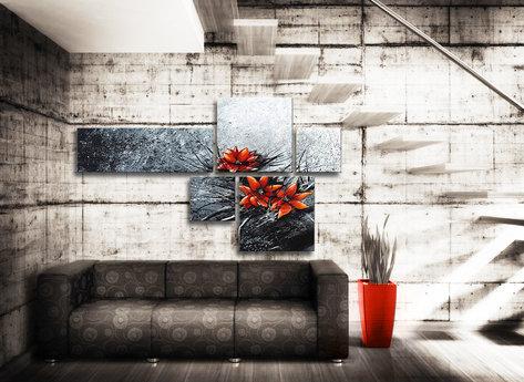 Abstrakt Oljemålning - Silvergrå Röd
