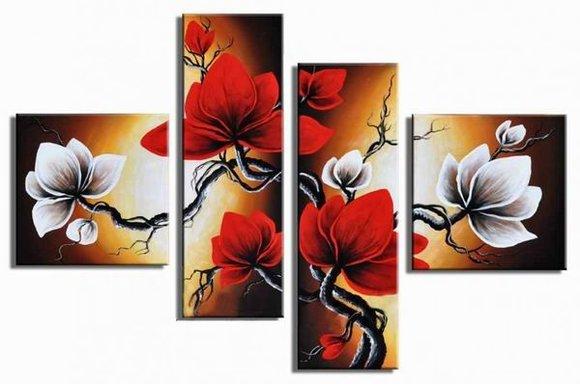 Tavlor - Blommor - Vita Röda