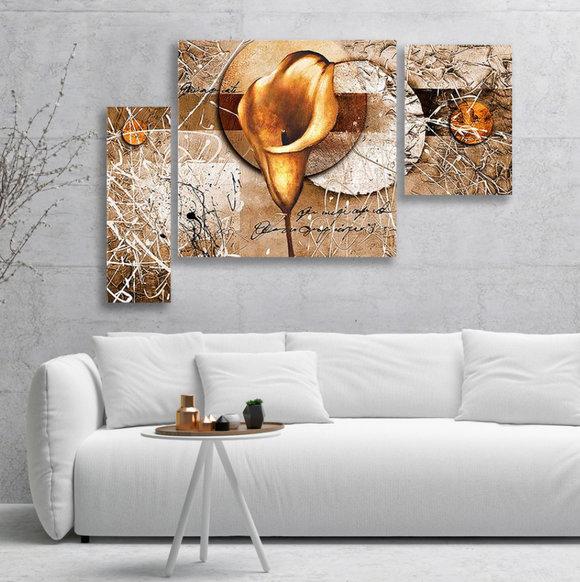 Blommor - Oljemålning - Guld Kalla