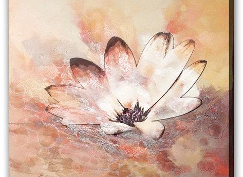 Rosa och Vita Blommor Tavla -Summer wind