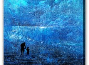 Abstrakt Blå Tavla - Safe in the Storm