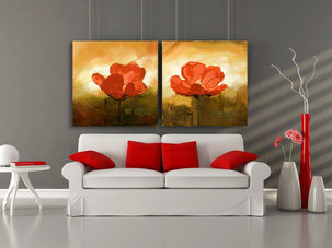 Red Dream - Oljemålning - Blommor
