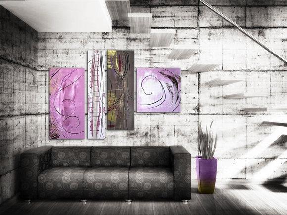 Abstrakt Tavla  - Rosa Korall