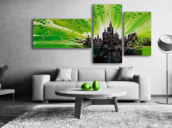 Oljemålning Green city