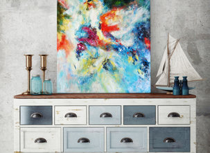 Blå Hav - Abstrakt Tavla (90x120cm)