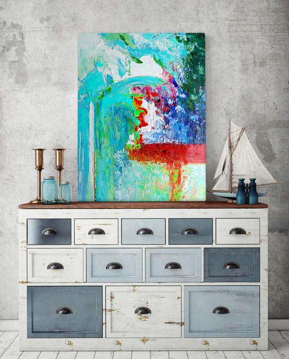 Abstrakt oljemålning - Turkos Dröm