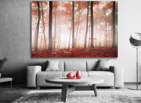 Magisk Röd Skog Tavla