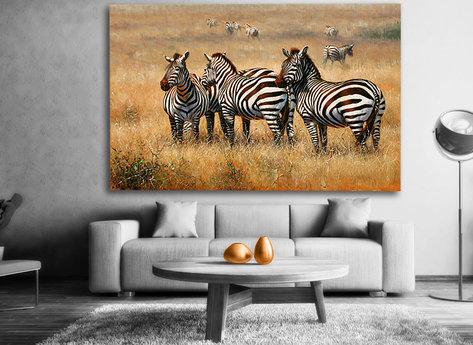 Zebra tavla - Handmålad