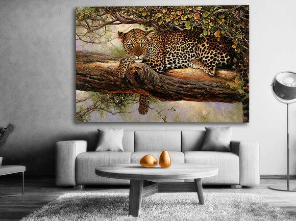 Leopard tavla - Handmålad